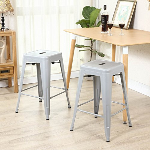 Belleze Bar Stools Set of (4PC) Vintage Counter Stool Modern French-Silver (26 inches) (Aqua Stacking Chair)