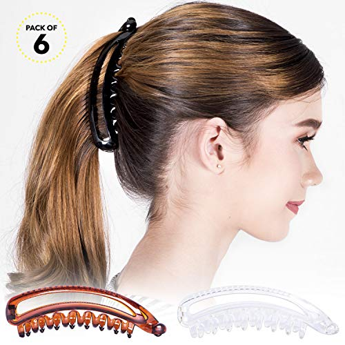 RC ROCHE ORNAMENT Womens Banana Hair Curved Classic Strong Hold Chic Ponytail Holder Maker Non Slip Styling Girl Ladies Beauty Accessory Clasp Comb Clip, 6 Pack Count Large Clear Brown and Black