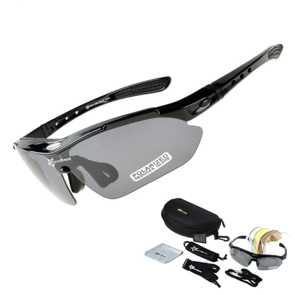 DANDANDAN Polarized Cycling Sun Glasses Outdoor Sports Bicycle Glasses Men Women Bike Sunglasses 29g Goggles Eyewear 5 Lens (Color : Black) by DANDANDAN