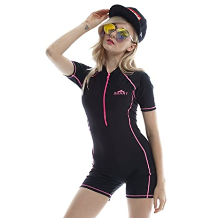 77c1139262e6 Swimsuit for Women One Piece Short-sleeve Snorkeling surfing suit Sun  Protection (Red,