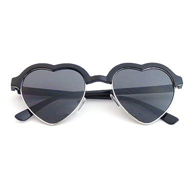 Emblem Eyewear - Inspiré De Mignon Vintage Demi-Trame Clubmaster Lunettes  De Soleil Forme Coeur (Noir)  Amazon.fr  Vêtements et accessoires 3c0dd36a9b0a