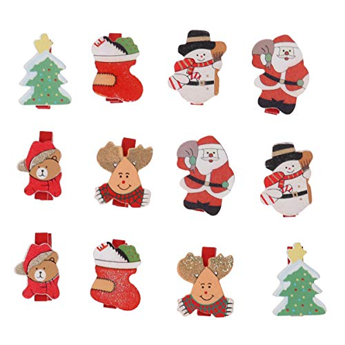 Tinksky Christmas Pattern Mini Wooden Pegs Note Memo Clips Clothespins, Pack of 12