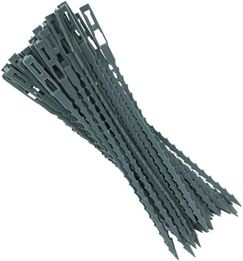 Fanxis 50Pcs Fish Bone Green Gardening Lashing Band Plant Potted Tool Vine Fixed Cable Ties Tool Sets