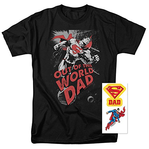 Popfunk Superman Out of This World Dad T Shirt for Father's Day (Small) (Dad T-shirt Black Super)