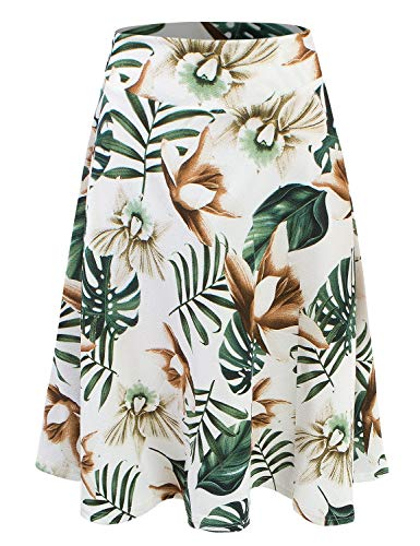 Doublju Womens High Waist Midi A-Line Skirt IVORYGREEN 2XL