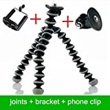 YINGKU Flexible Tripod for Standard Tripod mount with Adapter Bracket and Phone clip for GoPro