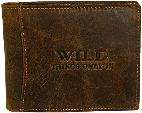 """horizontal Men/'s leather wallet with /""""Wild Things Only!!!/"""" design"""