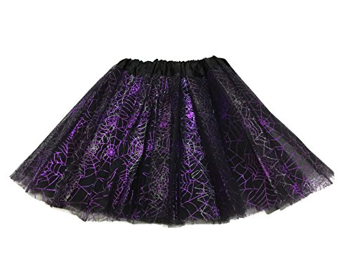 Rush Dance Ballerina Recital Halloween Purple & Black Spider Webs Costume Tutu (Black And Purple Tutu Skirt)