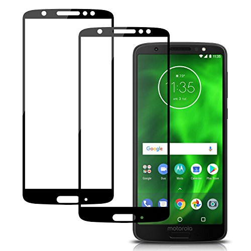 Moto G6 Screen Protector Full Coverage, 2 Pack Niyattn Tempered Glass Screen Protector for Moto G6 5.7 inch with Double Shielding/Bubble Free/Case Friendly, Black