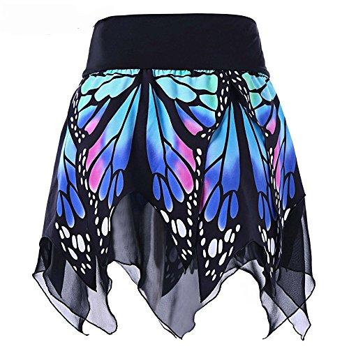 BKGMC Women Girls Dress Up Chiffon Skirt Butterfly Print Irregular Hem (Animal Print Ruffle Dress)