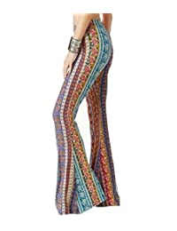 Againg Women Skin-Tight Bell-Bottoms Retro Floral Design Pants