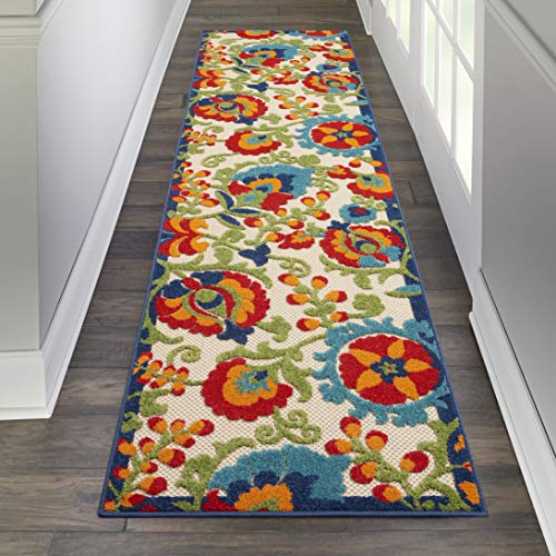 Nourison ALH17 Aloha Indoor/Outdoor Floral Multicolor Area Rug Runner (2'3