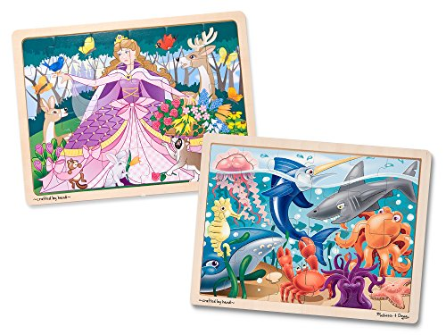 (Melissa & Doug Wooden Jigsaw Puzzles Set - Under the Sea and Woodland Princess)