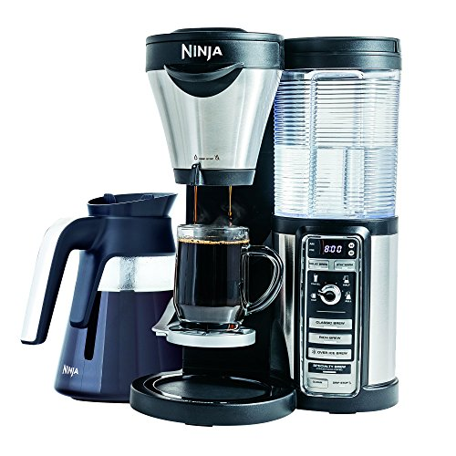 Ninja Coffee Maker for Hot/Iced Coffee with 4 Brew Sizes, Programmable Auto-iQ, Milk Frother, 43oz Glass Carafe, Tumbler and 100 Recipes (CF082) (Certified Refurbished)