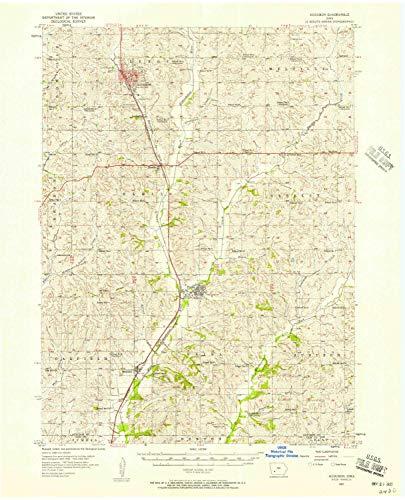 YellowMaps Audubon IA topo map, 1:62500 Scale, 15 X 15 Minute, Historical, 1957, Updated 1958, 21 x 17 in - Polypropylene