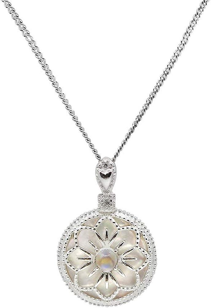 Luna Azure - Collar con colgante redondo de plata de ley 925 y piedra lunar auténtica, hecho a mano, para mujeres y niñas, aniversario, regalo de cumpleaños