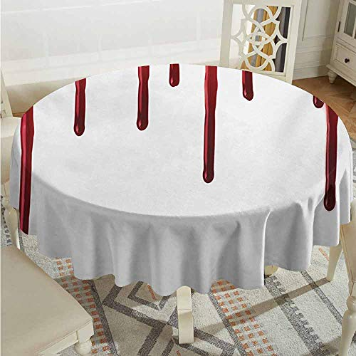 XXANS Fashions Table Cloth,Horror,Flowing Blood Horror Spooky Halloween Zombie Crime Scary Help me Themed Illustration,for Events Party Restaurant Dining Table Cover,67 INCH,Red White]()