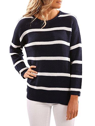 Blue Striped Sweater (SUNMMWERY Women Striped Long Sleeve Round Neck Pullover Sweater Jumper,Navy Blue,Medium)