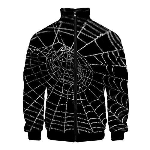 Men's Halloween Print Zipper Sportswear Long Sleeve Coat Jacket Outwear