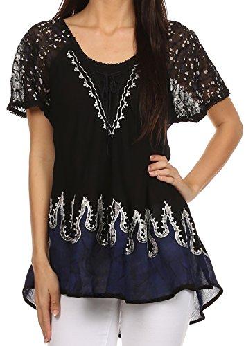 Sakkas 786 - Cora Relaxed Fit Batik Design Embroidery Cap Sleeves Blouse / Top - Black / Navy - OSP