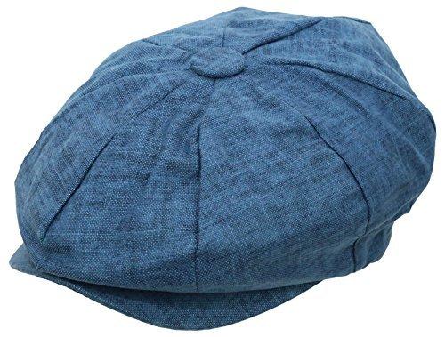 Men's Newsboy Linen Applejack Gatsby Collection Ivy Hats - Blue (Apple Jack Caps)