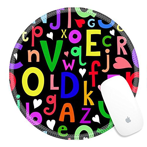 Luxlady Round Gaming Mousepad 33728984 Vector seamless pattern with Latin letters of different sizes on dark background in a cartoon style children s illustration with alphabet