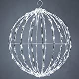 LED Light Ball – Indoor / Outdoor Christmas Light Balls, Light Spheres Outdoor / Sphere Light Fold Flat Metal Frame (16'', White Frame / Cool White Lights)