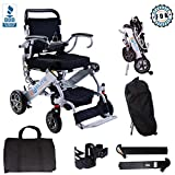 EW Elite Wheelchair Foldable Electric Powered Wheelchair, Supports up to 265 lb, Weighs 50lb, Up to 12 Miles Range with 2 Batteries, Approved for Airplane Travel, Safe and Easy to Drive. Model N5513A