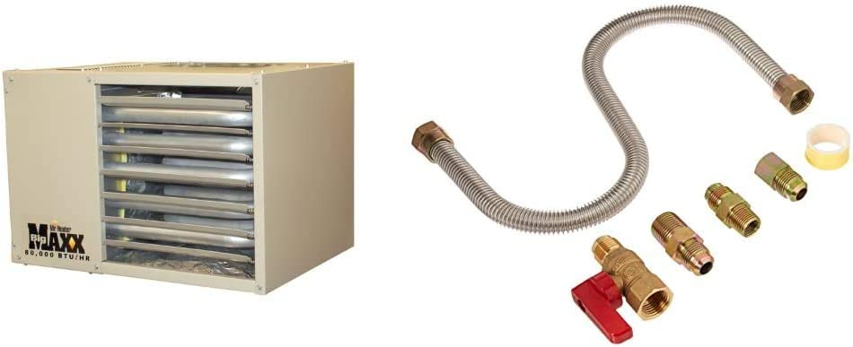 Mr. Heater F260560 Big Maxx MHU80NG Natural Gas Unit Heater & F271239 One-Stop Universal Gas-Appliance Hook-Up Kit,Small