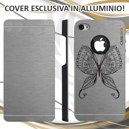 CUSTODIA COVER CASE BUTTERFLY TRIBAL PER IPHONE 4 ALLUMINIO TRASPARENTE
