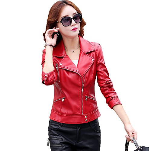 Red Motorcycle Leather Jacket - 9