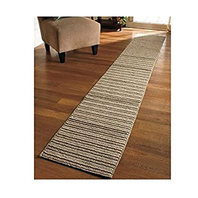 NEW 20 X 120 Sand Colored Striped Extra Long Nonslip Floor Runner Rug *MADE IN USA* by Unique's Shop