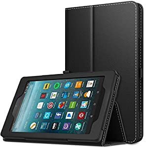 MoKo Case for All-New Amazon Fire 7 Tablet (7th Generation, 2017 Release Only) - Slim Folding Stand Cover Case for Fire 7, BLACK (with Auto Wake / Sleep)