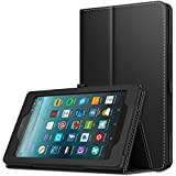 MoKo Case for All-New Amazon Fire 7 Tablet (7th Generation, 2017 Release Only) - Slim Folding Stand Cover Case for Fire 7, Black (with Auto Wake/Sleep)