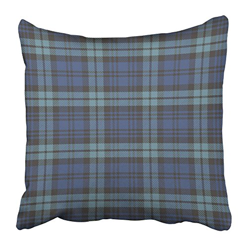 Emvency Throw Pillow Covers Cases Decorative 16x16 Inch Black Watch Plaid Blue Tartan Preppy Check Vintage Aqua Clan Classic Two Sides Print Pillowcase Case Cushion Cover