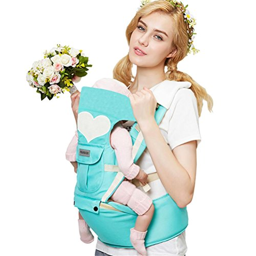 Baby Carrier Breathable Hip seat carrier Ergonomic design Variety Carry Ways with Detachable Seat Adjustable Newborns Portable Multifunction Backpack carrier for Four Seasons 0~20kg , green