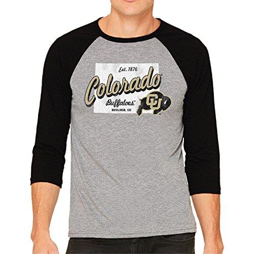 Original Retro Brand NCAA Colorado Buffaloes Men's 3/4 Baseball Tee, Small, Heather/Black (Colorado Baseball Buffaloes)