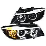 (US) [Facelift 3D Halo] BMW E90 3-Series 4Dr LED Projector Headlights Headlamps Black