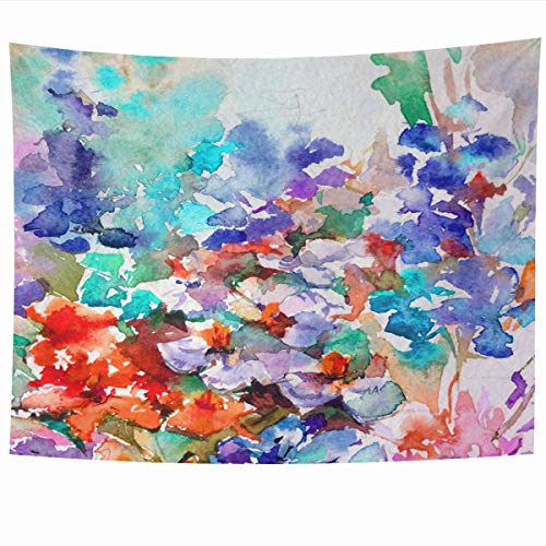 - Ahawoso Tapestry Wall Hanging 60x50 Inches Holiday Blue Artistic Abstract Bright Colored Floral Iris Blossom Brush Celebration Color Design Home Decor Tapestries Art for Living Room Bedroom Dorm
