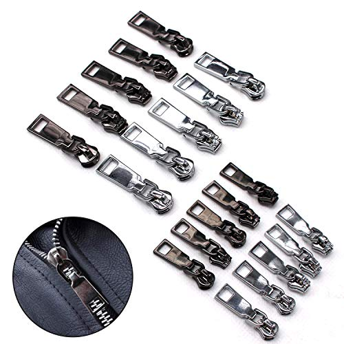 20 Pcs Zipper Pulls Tab Replacement Zip Fixers Repair Kit Locking Repair Tag for Backpack Boots Jacket Luggage Cloth Suitcase Coat Silver and Black (#3, 5)