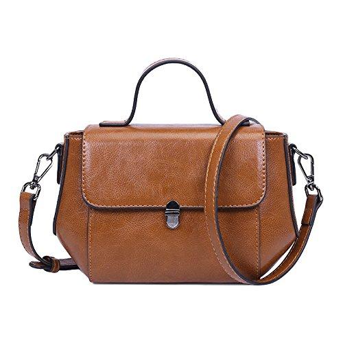 RENHONG Bolso Cruzado Clásico del Hombro De La Moda del Bolso Marrón Clásico De Cuero De La PU De Las Señoras,Brown-OneSize Brown