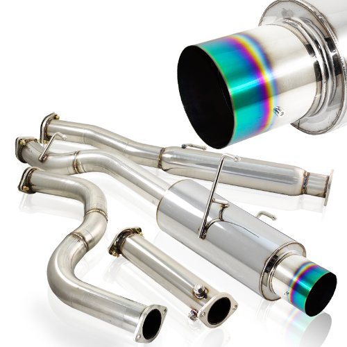 96-00 Honda Civic 2dr/4dr Titanium Burnt Cat Back Exhaust System for Turbo (Honda Civic 2dr Type)