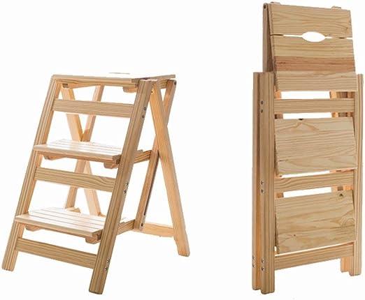 QQXX Taburete de Escalera Plegable Multifunción Robusta Madera Maciza Simple Moderno para Adultos, Escalera de 3 peldaños, 4 Colores de Doble Uso (Color: Color de Madera): Amazon.es: Hogar