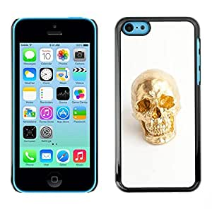 FECELL CITY // Duro Aluminio Pegatina PC Caso decorativo Funda Carcasa de Protección para Apple Iphone 5C // Nugget Scull White Minimalist Bling