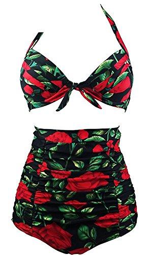Puissant Comfortable Fashion Retro 50s Black Pink Blue FloralHalter High Waist Bikini Carnival Swimsuit(FBA) RoseXXL(US10-12)