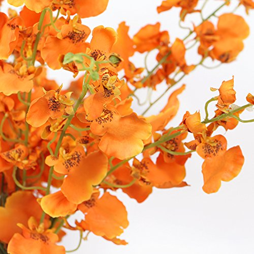 G Home Collection Luxury Silk Dancing Lady Orchid Stem in Orange 38