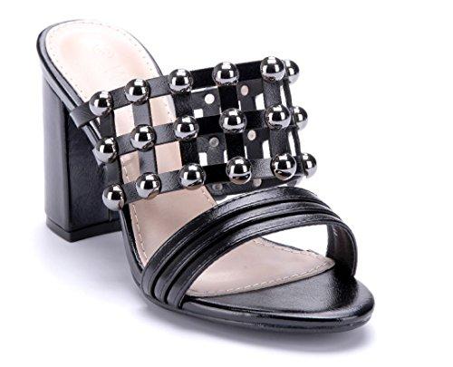 Schuhtempel24 Damen Schuhe Pantoletten Sandalen Sandaletten Blockabsatz Nieten 9 cm Schwarz