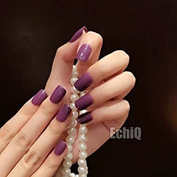 Amazon Coolnail Hot Popular Solid Purple Color Fake Nails