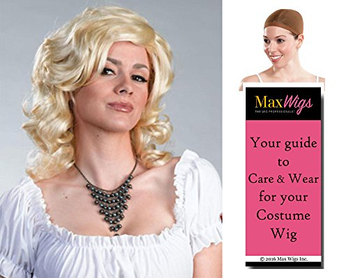 Nicole Anna Smith Color Blonde - Enigma Wigs Women's Long Wavy Full Movie Star Model Bundle with Wig Cap, MaxWigs Costume Wig Care Guide