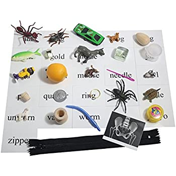 Montessori Alphabet Objects Set - Beginning Letter Sounds Set #1 with Word Cards -Miniature Objects for Each Letter of the Alphabet